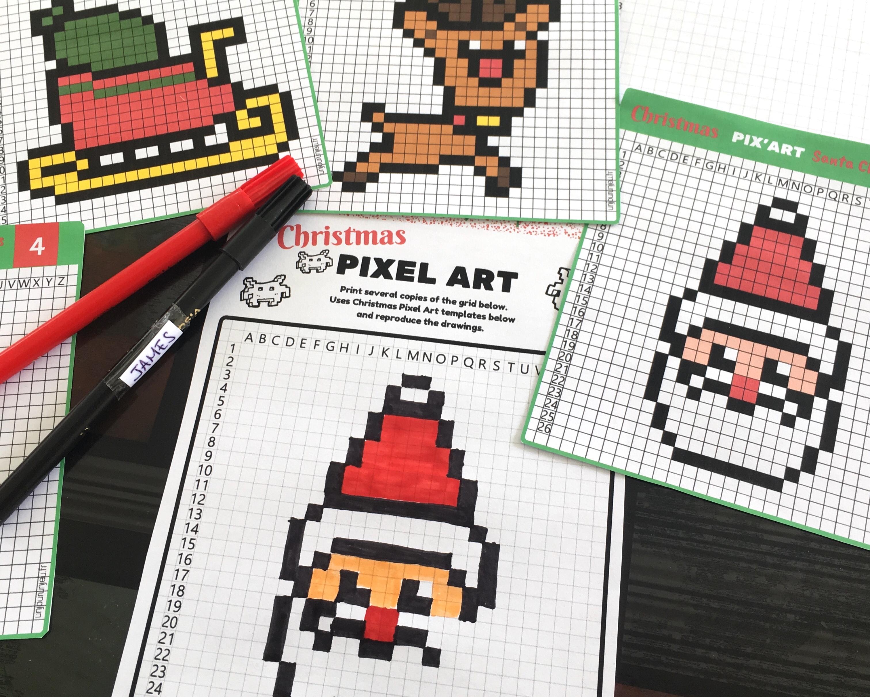 Christmas Pixel Art 12 Templates To Print For Free Kidslife